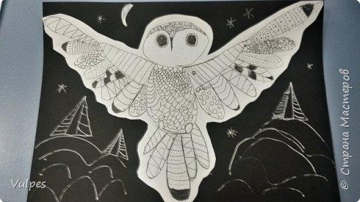 Рисовали с детками подготовительной группы сказочную сову. Сначала на белом листе делали набросок совы (по схеме) простым карандашом, потом обводили и рисовали узоры на крыльях черной гелевой ручкой (карандаш потом стирали). Сову вырезали и наклеили на лист цветной акварельной бумаги, дорисовывали белой гелевой ручкой. Это моя совушка: фото 3
