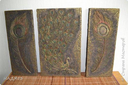 Картина панно рисунок Мастер-класс Аппликация из скрученных жгутиков Мой любимый пейп-арт панно  ПАВЛИН  Клей Краска Салфетки фото 1