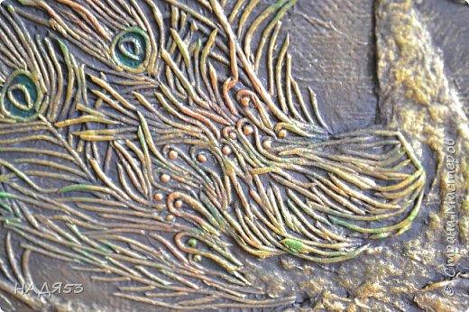 Картина панно рисунок Мастер-класс Аппликация из скрученных жгутиков Мой любимый пейп-арт панно  ПАВЛИН  Клей Краска Салфетки фото 7
