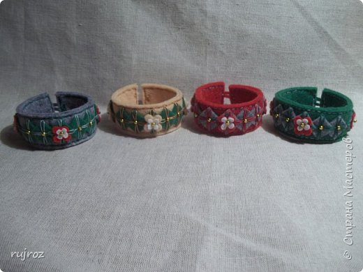 Вот такие браслеты мне захотелось сшить из фетра,кружев и бусин. фото 11