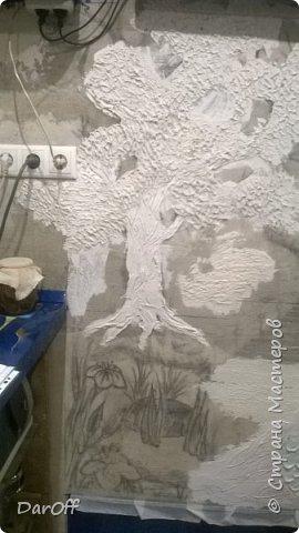 Видео Интерьер Мастер-класс Боже как же долго   - Моя новая кухня - Часть щестая - Объемная картина на стене Павлины в  лесу   фото 21