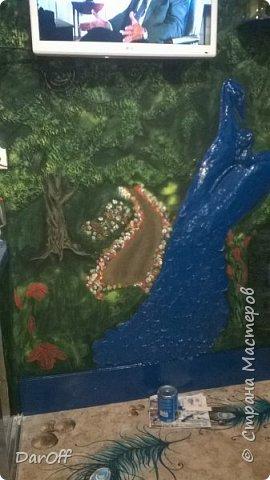 Видео Интерьер Мастер-класс Боже как же долго   - Моя новая кухня - Часть щестая - Объемная картина на стене Павлины в  лесу   фото 36