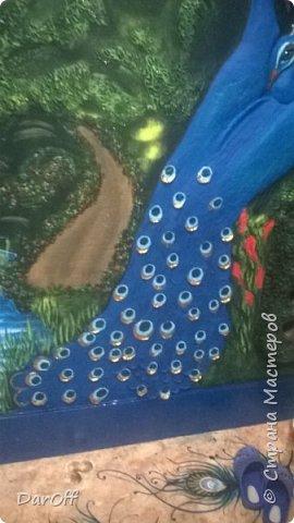 Видео Интерьер Мастер-класс Боже как же долго   - Моя новая кухня - Часть щестая - Объемная картина на стене Павлины в  лесу   фото 51