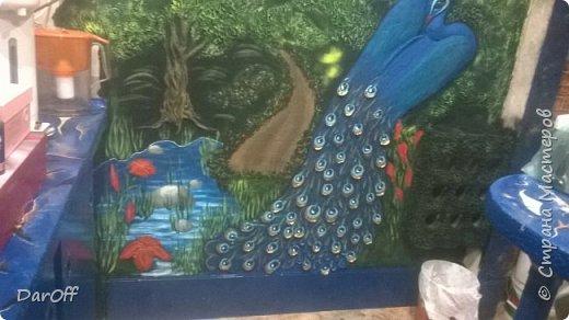 Видео Интерьер Мастер-класс Боже как же долго   - Моя новая кухня - Часть щестая - Объемная картина на стене Павлины в  лесу   фото 53