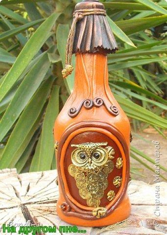 Декор предметов Аппликация Богатая тетушка-сова Бутылки стеклянные Камень Кожа Металл фото 2