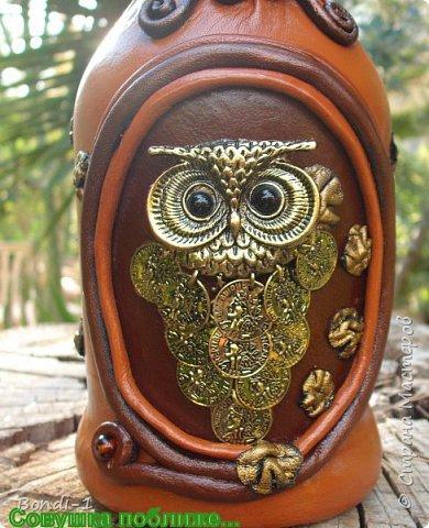 Декор предметов Аппликация Богатая тетушка-сова Бутылки стеклянные Камень Кожа Металл фото 5