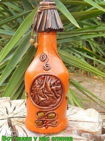 Декор предметов Аппликация Богатая тетушка-сова Бутылки стеклянные Камень Кожа Металл фото 3