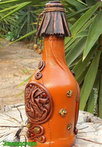 Декор предметов Аппликация Богатая тетушка-сова Бутылки стеклянные Камень Кожа Металл фото 4