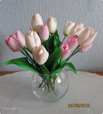 Мастер-класс Флористика искусственная 8 марта День рождения Пасха Моделирование конструирование Тюльпаны из фоамирана Фоамиран фом фото 2