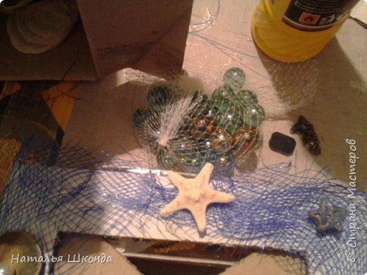 фоторамка сделана из ракушек на картоне, процесс изготовления сфоткала фото 5