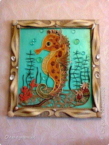 Картина панно рисунок Мастер-класс Моделирование конструирование Морской конек МК Крупа Ракушки Шпагат фото 1