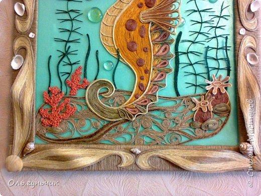 Картина панно рисунок Мастер-класс Моделирование конструирование Морской конек МК Крупа Ракушки Шпагат фото 2
