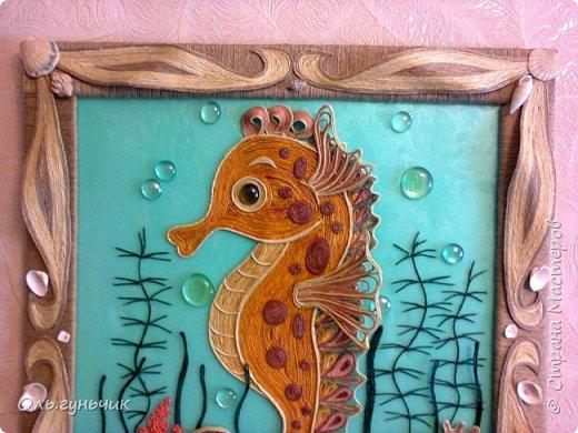 Картина панно рисунок Мастер-класс Моделирование конструирование Морской конек МК Крупа Ракушки Шпагат фото 3