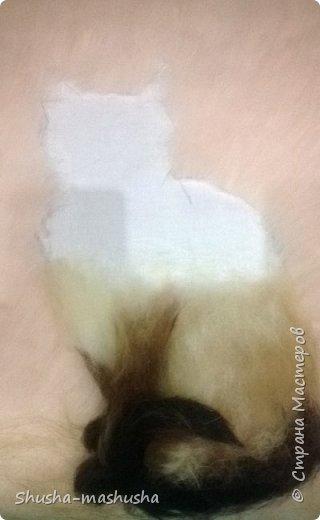 Шерстяная живопись. Кошка Бася. Поэтапность работы фото 7