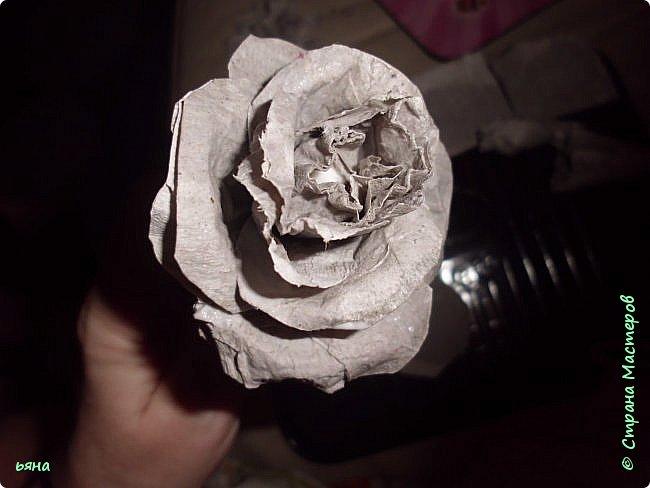 Мастер-класс Бумагопластика Кованая роза из туалетной бумаги Бумага Диски ватные Клей Краска Проволока фото 11