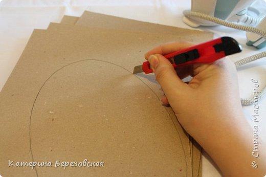 Мастер-класс Поделка изделие Плетение МК по обтягиванию картона тканью Картон Клей Ткань фото 5