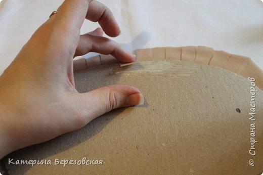 Мастер-класс Поделка изделие Плетение МК по обтягиванию картона тканью Картон Клей Ткань фото 17