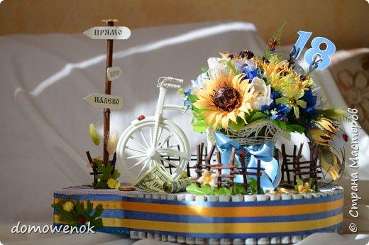"""Привет Страна ! Я к вам на """"лисапеде"""" сегодня приехала .  Заказ на день рождения-велосипед-кашпо с цветочками...все бы хорошо, о только это мальчику на 18 лет...розы отпали сразу, накрутила ромашек...они тоже отпали...остались только """"мужские"""" цветочки : василеК, подсолнуХ и лютиК(ну это я так думаю, что это лютик), Дашуля мне еще колокольчик подсказывала, очень бы с ним наверное хорошо было, но сроки... фото 1"""