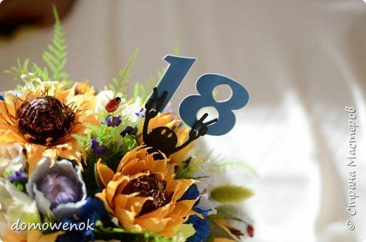 """Привет Страна ! Я к вам на """"лисапеде"""" сегодня приехала .  Заказ на день рождения-велосипед-кашпо с цветочками...все бы хорошо, о только это мальчику на 18 лет...розы отпали сразу, накрутила ромашек...они тоже отпали...остались только """"мужские"""" цветочки : василеК, подсолнуХ и лютиК(ну это я так думаю, что это лютик), Дашуля мне еще колокольчик подсказывала, очень бы с ним наверное хорошо было, но сроки... фото 7"""