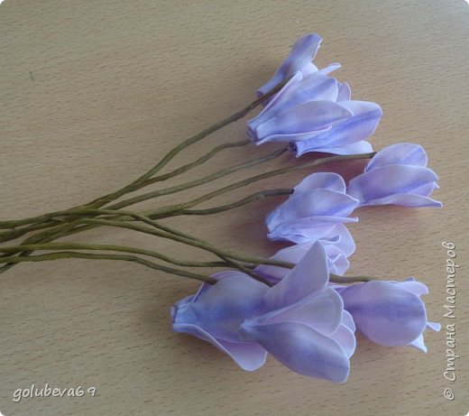Расскажу как я делала вот такой цветок . Для его создания нужен фоамиран розовый и зелёный. Горшочек,  проволока, тейп-лента, пенопласт, гипс, супер клей или клеевой пистолет. фото 4