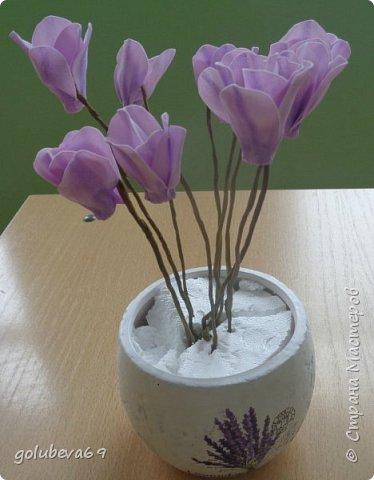 Расскажу как я делала вот такой цветок . Для его создания нужен фоамиран розовый и зелёный. Горшочек,  проволока, тейп-лента, пенопласт, гипс, супер клей или клеевой пистолет. фото 8