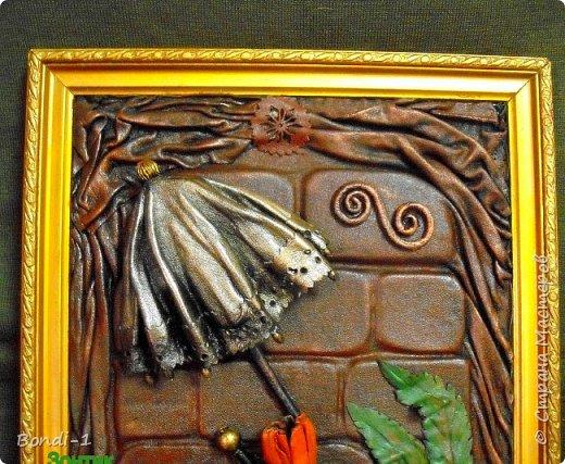 Картина панно рисунок Ключница Серебряный зонтик Дерево Картон Кожа фото 3