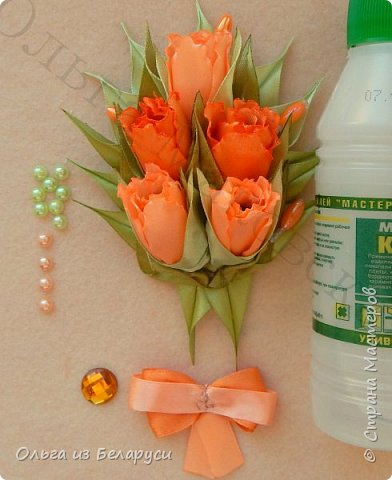 Мастер-класс Украшение Моделирование конструирование МК махрового тюльпана Бисер Бусины Клей Ленты фото 21