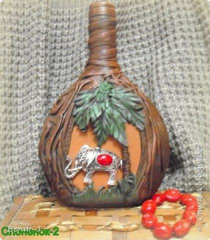 Декор предметов Любимый слоненок Раджи Бутылки стеклянные Кожа Металл фото 2