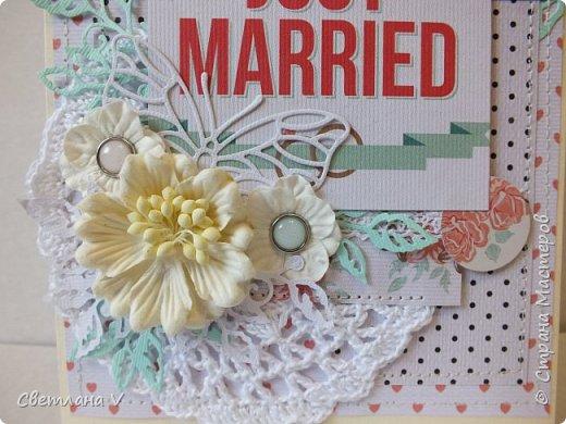 Попросили сделать открытку на свадьбу с кармашком для денег..сначала процесс создания открытки шел туго, но потом, как говорится, понесло)) Бумага - моя любимая Тереза Коллинз. Здесь  кружево (которого почти не видно), вязанная крючком салфетка, вырубка, цветочки и брадс: фото 3