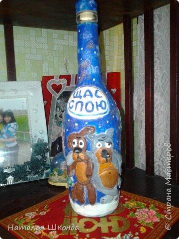 Такую бутылочку захотелось сделать после просмотра МК Гобенко Людмилы https://stranamasterov.ru/user/141828   Вот что у меня получилось... фото 1