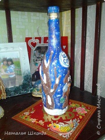 Такую бутылочку захотелось сделать после просмотра МК Гобенко Людмилы https://stranamasterov.ru/user/141828   Вот что у меня получилось... фото 2