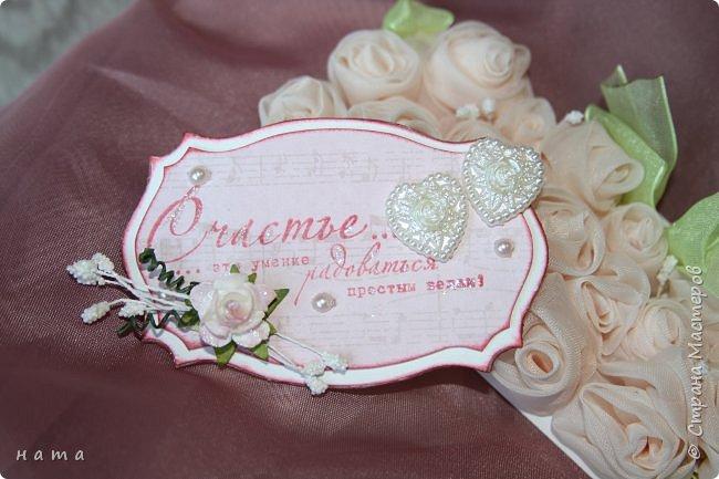 На свадьбу сотворился комплектик: Магнит на холодильник Коробочка с подложкой из роз Открыточка в коробочке футляр для денежки фото 5