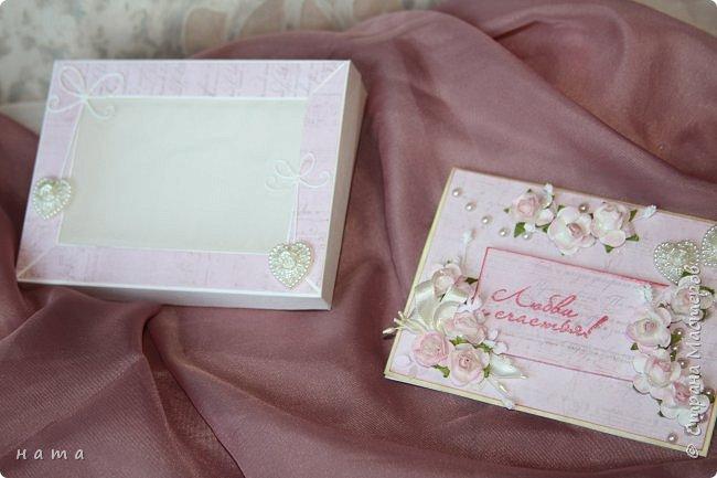 На свадьбу сотворился комплектик: Магнит на холодильник Коробочка с подложкой из роз Открыточка в коробочке футляр для денежки фото 13