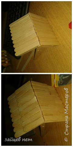 Этот колодец- одна из частей задуманной композиции! Что мне понадобилось: коробочка, бумага, палочки для мороженого, проволока, клей момент, шпатлёвка финишная сухая, акриловые краски, ножницы по метлу, канцелярский нож, цепочка, деревянная часть кисточки для ворота,наждачная бумага. Для ведёрка: картон, проволока, нить, акриловые краски и лак.   фото 7