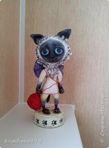 Куклы Мастер-класс Поделка изделие Лепка Папье-маше Сиамский котёнок Мимиша  Бумага Глина Клей Краска Проволока Фольга фото 1