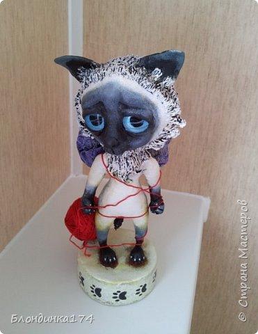 Куклы Мастер-класс Поделка изделие Лепка Папье-маше Сиамский котёнок Мимиша  Бумага Глина Клей Краска Проволока Фольга фото 2