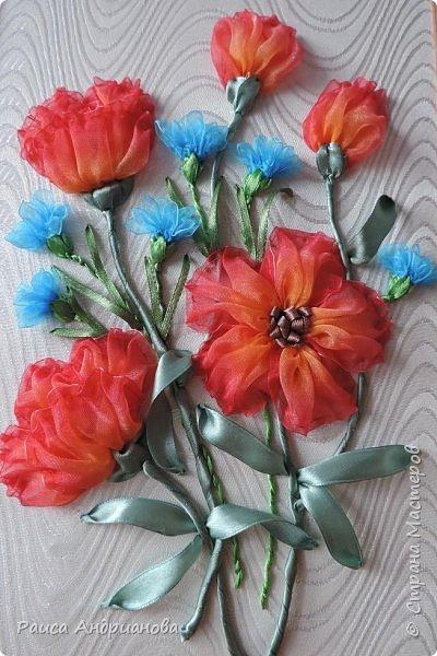Для работы понадобится органза( я взяла шириной 2см т.к. делаю маленькие цветы), атласная лента 0,5см, нитки в тон органзы. фото 12