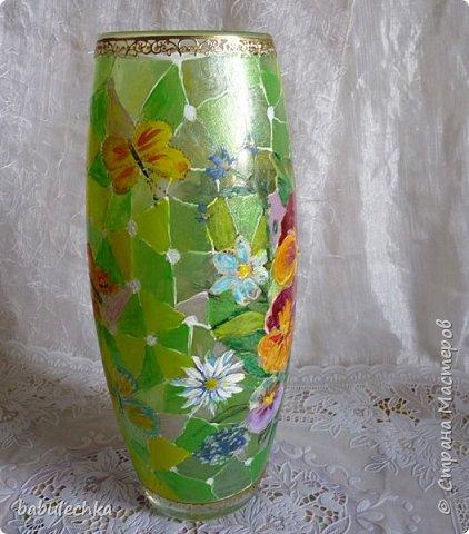 25июня2012года оять взялась за эту вазу  и внесла коррективы в цвет лепестков  и листьев. фото 3
