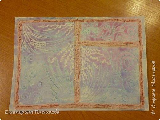 Рисуем мороз на окне восковыми мелками и акварелью фото 4