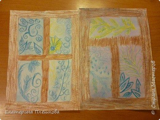 Рисуем мороз на окне восковыми мелками и акварелью фото 1
