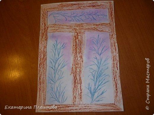 Рисуем мороз на окне восковыми мелками и акварелью фото 5