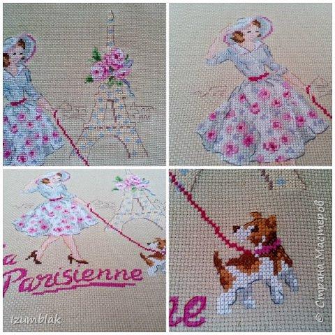 """Вышивка крестом """"Парижанка"""" от Парижских вышивальщиц (Les Brodeuses Parisiennes). 19 цветов, нитки ДМС по ключу,  канва 14 каунта из небеленого льна.  фото 2"""