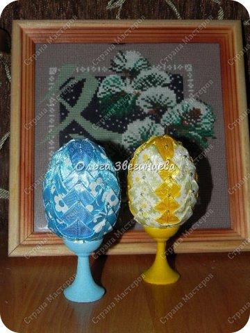 Приветствую всех жителей СМ! в этот раз на праздник Пасхи я сделала яички атласными лентами... фото 4