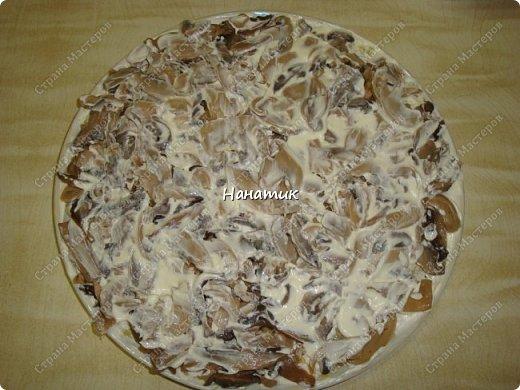 Добрый вечер. Почему хозяйственный?) Потому что салат появился из тех продуктов, которые почти всегда есть в наличие у многих хозяюшек. -картофель средний 10шт -майонез примерно 200г -грибы (у меня шампиньоны отварные) 850мл -масло сливочное для обжарки грибов  -лук средний 5шт -морковь крупная 3шт -растит.масло для обжарки грибов и моркови -огурцы маринованные 5шт -кукуруза консервированная 2банки фото 5