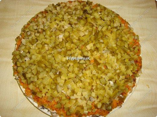 Добрый вечер. Почему хозяйственный?) Потому что салат появился из тех продуктов, которые почти всегда есть в наличие у многих хозяюшек. -картофель средний 10шт -майонез примерно 200г -грибы (у меня шампиньоны отварные) 850мл -масло сливочное для обжарки грибов  -лук средний 5шт -морковь крупная 3шт -растит.масло для обжарки грибов и моркови -огурцы маринованные 5шт -кукуруза консервированная 2банки фото 7
