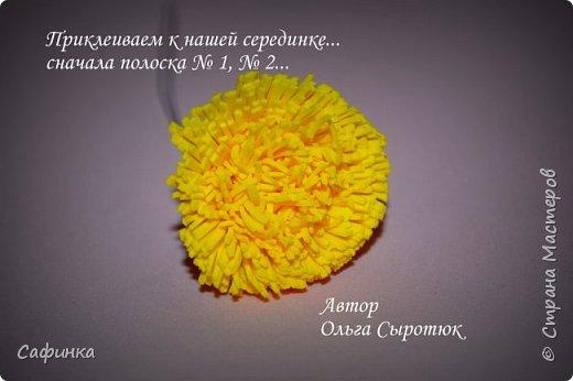 """Приветик Всем, мои дорогие!!! И снова я,, Ольга Сыротюк с Вами....Сегодня предлагаю Вашему вниманию  Мастер-класс по созданию загадочного цветка,Гербера сорта """"Гелиос"""" (желтая) Почему желтая гербера?  Гербера- цветок противоречий, он прост и в тоже время загадочен, выразителен и ярок ! Одно из значений герберы - тайна! Это хорошо подтверждает, и внешний вид цветка... Гербера сможет порадовать всех сразу и каждого по отдельности, никого не оставит без внимания!  Красные герберы-принято дарить мужчинам, Нежно розовые - девушкам,женщинам...А желтые, оранжевые принесут удачу в любой дом, их можно дарить на семейное торжество!  Поэтому творим сегодня, желтые герберы и привлекаем удачу в свой дом!!! И так вдохновились? Вооружаемся материалом и начинаем творить волшебство.... фото 22"""