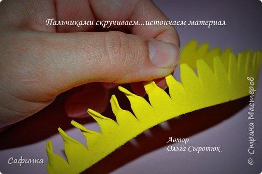 """Приветик Всем, мои дорогие!!! И снова я,, Ольга Сыротюк с Вами....Сегодня предлагаю Вашему вниманию  Мастер-класс по созданию загадочного цветка,Гербера сорта """"Гелиос"""" (желтая) Почему желтая гербера?  Гербера- цветок противоречий, он прост и в тоже время загадочен, выразителен и ярок ! Одно из значений герберы - тайна! Это хорошо подтверждает, и внешний вид цветка... Гербера сможет порадовать всех сразу и каждого по отдельности, никого не оставит без внимания!  Красные герберы-принято дарить мужчинам, Нежно розовые - девушкам,женщинам...А желтые, оранжевые принесут удачу в любой дом, их можно дарить на семейное торжество!  Поэтому творим сегодня, желтые герберы и привлекаем удачу в свой дом!!! И так вдохновились? Вооружаемся материалом и начинаем творить волшебство.... фото 27"""