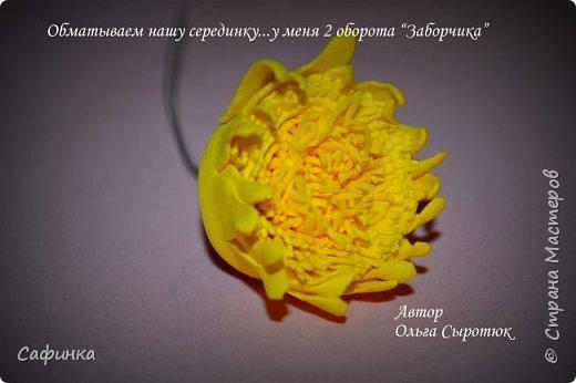 """Приветик Всем, мои дорогие!!! И снова я,, Ольга Сыротюк с Вами....Сегодня предлагаю Вашему вниманию  Мастер-класс по созданию загадочного цветка,Гербера сорта """"Гелиос"""" (желтая) Почему желтая гербера?  Гербера- цветок противоречий, он прост и в тоже время загадочен, выразителен и ярок ! Одно из значений герберы - тайна! Это хорошо подтверждает, и внешний вид цветка... Гербера сможет порадовать всех сразу и каждого по отдельности, никого не оставит без внимания!  Красные герберы-принято дарить мужчинам, Нежно розовые - девушкам,женщинам...А желтые, оранжевые принесут удачу в любой дом, их можно дарить на семейное торжество!  Поэтому творим сегодня, желтые герберы и привлекаем удачу в свой дом!!! И так вдохновились? Вооружаемся материалом и начинаем творить волшебство.... фото 29"""