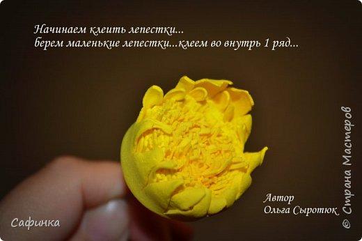"""Приветик Всем, мои дорогие!!! И снова я,, Ольга Сыротюк с Вами....Сегодня предлагаю Вашему вниманию  Мастер-класс по созданию загадочного цветка,Гербера сорта """"Гелиос"""" (желтая) Почему желтая гербера?  Гербера- цветок противоречий, он прост и в тоже время загадочен, выразителен и ярок ! Одно из значений герберы - тайна! Это хорошо подтверждает, и внешний вид цветка... Гербера сможет порадовать всех сразу и каждого по отдельности, никого не оставит без внимания!  Красные герберы-принято дарить мужчинам, Нежно розовые - девушкам,женщинам...А желтые, оранжевые принесут удачу в любой дом, их можно дарить на семейное торжество!  Поэтому творим сегодня, желтые герберы и привлекаем удачу в свой дом!!! И так вдохновились? Вооружаемся материалом и начинаем творить волшебство.... фото 30"""