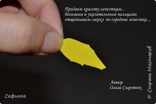 """Приветик Всем, мои дорогие!!! И снова я,, Ольга Сыротюк с Вами....Сегодня предлагаю Вашему вниманию  Мастер-класс по созданию загадочного цветка,Гербера сорта """"Гелиос"""" (желтая) Почему желтая гербера?  Гербера- цветок противоречий, он прост и в тоже время загадочен, выразителен и ярок ! Одно из значений герберы - тайна! Это хорошо подтверждает, и внешний вид цветка... Гербера сможет порадовать всех сразу и каждого по отдельности, никого не оставит без внимания!  Красные герберы-принято дарить мужчинам, Нежно розовые - девушкам,женщинам...А желтые, оранжевые принесут удачу в любой дом, их можно дарить на семейное торжество!  Поэтому творим сегодня, желтые герберы и привлекаем удачу в свой дом!!! И так вдохновились? Вооружаемся материалом и начинаем творить волшебство.... фото 4"""